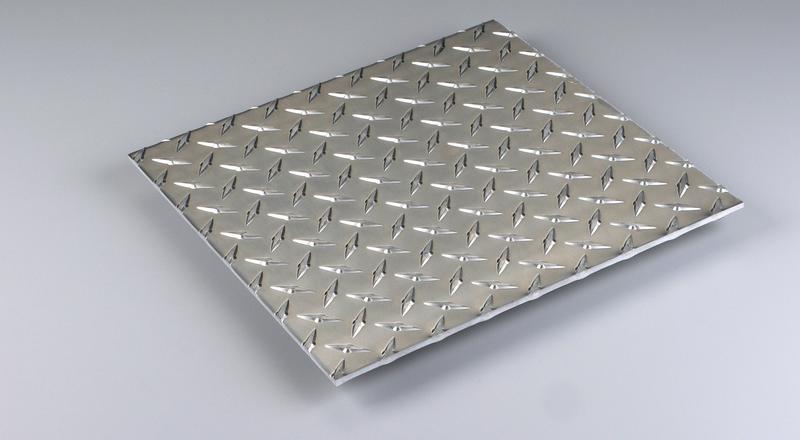 Aluminum diamond floor plate stock cut to size