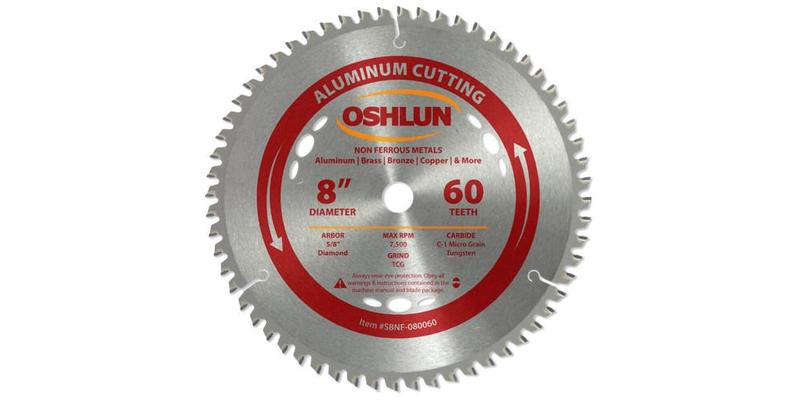 Oshlun 8 Inch Aluminum Replacement Circular Saw Blade at Coremark Metals