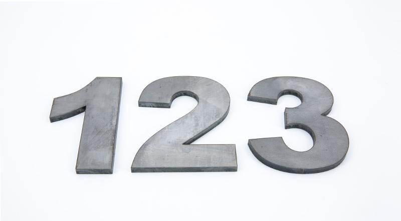 Laser cut hot roll steel numbers one two three