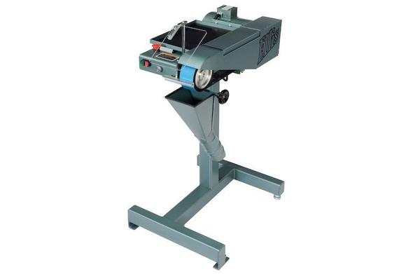 Ellis 6000 belt grinder with dust chute and safety shield