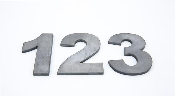 Laser cut hot roll steel numbers one two three manufactured parts