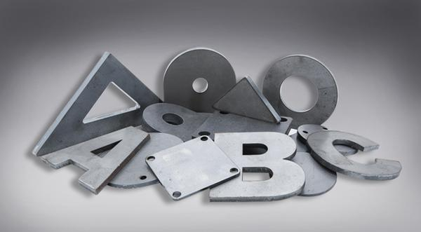Manufactured metal parts including gussets, base plates, letters and numbers